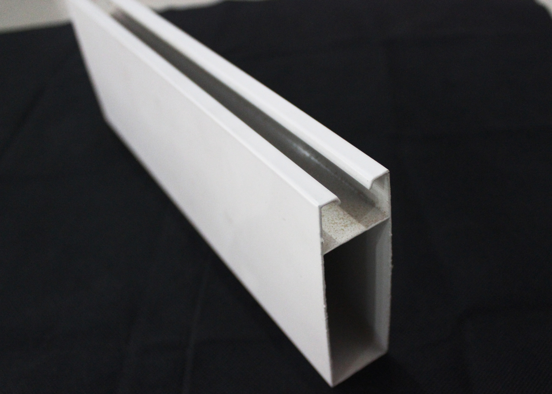 Rectangle Strip Linear White Metal Ceiling Tile For Airport , T30mm x 70mm