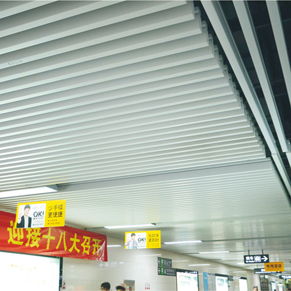 Decorative Commercial Metal Strip Aluminium Baffle Ceiling Panels 35mm Width 150mm Height